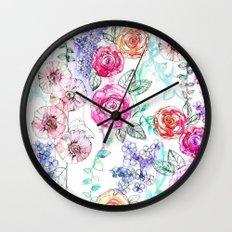 Pastel Rose Garden 02 Wall Clock