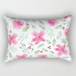 Watercolor Azeleas and Roses Rectangular Pillow