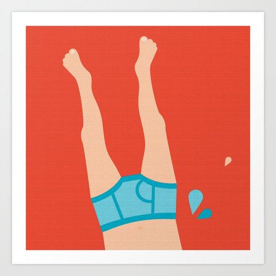 Summer skinny dipping boyfriend pants Art Print