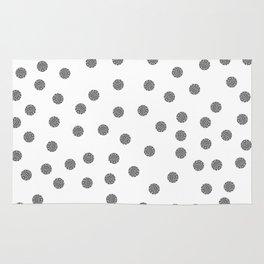 Preppy brushstroke dots black and white spots design minimal #society6 #decor #buyart #artprint Rug