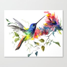 Hummingbird, tropical Foliage, Hawaiian design, tropical, colors Canvas Print