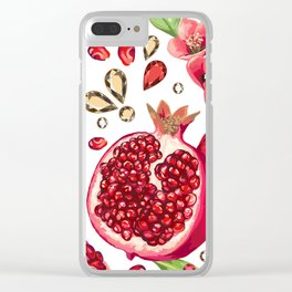 Pomegranate fruit and glass strass on a white background. Seamless pattern. Clear iPhone Case