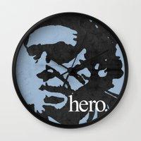 bukowski Wall Clocks featuring Charles Bukowski - hero. by alex lodermeier