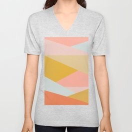 Large Triangle Pattern in Soft Earth Tones Unisex V-Neck