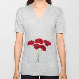 A Bunch Of Red Poppies Unisex V-Neck