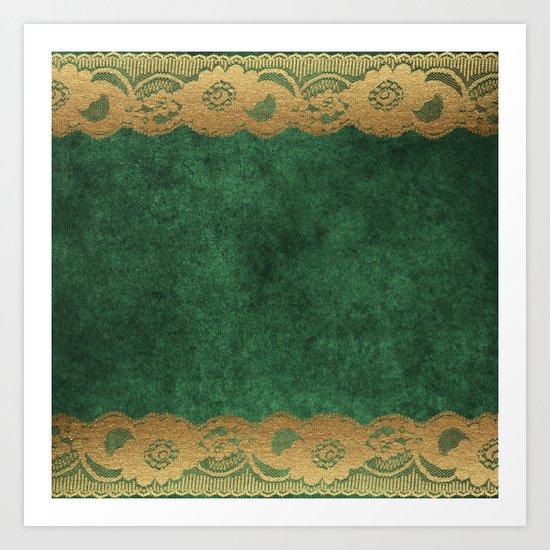 Green Lace Velvet 02 Art Print