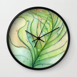 Green Watercolor Peacock Feather and Bubbles Wall Clock