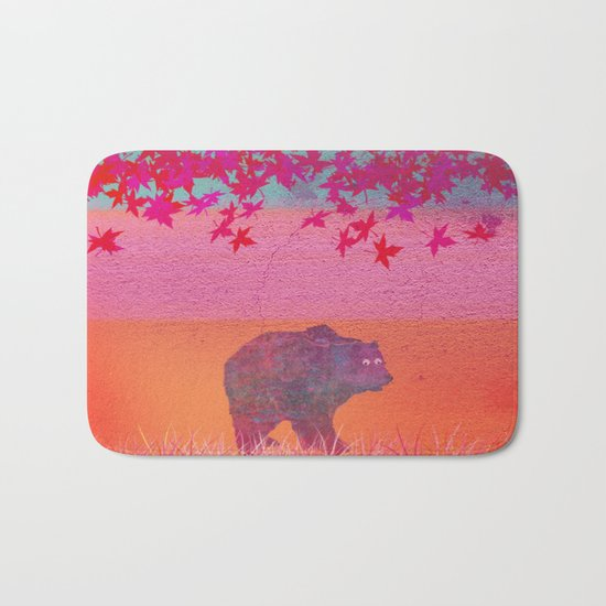 Little bear in the colorful field, leaf, colors, pink, blue, field, grass, bear Bath Mat