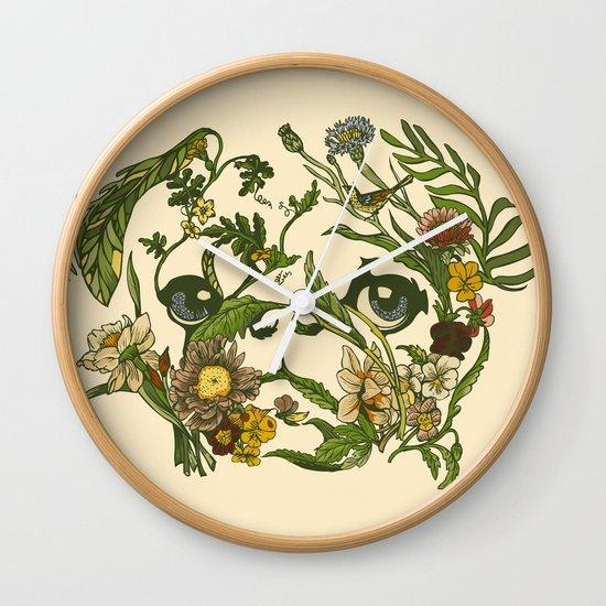 Botanical Pug Wall Clock