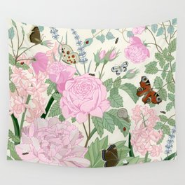 Pink flowers and butterflies Wall Tapestry