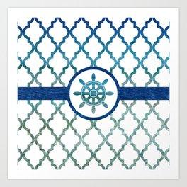 Ship Helm: Tropical Water Moroccan Pattern Art Print