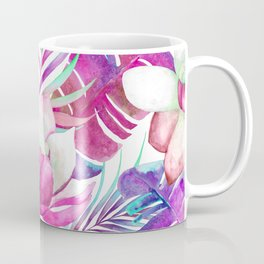 Pink lotus tropical leaves Coffee Mug