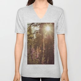 A New Day Wildflowers at Dawn - Nature Photography Unisex V-Neck