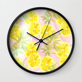 Leafy Orange Print Wall Clock