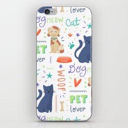 Cat Dog Pet Pattern iPhone Skin