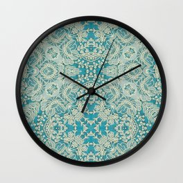 floral lace on blue Wall Clock