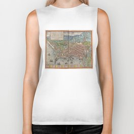 Vintage Map of Naples Italy (1572) Biker Tank