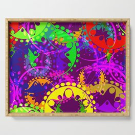 Texture of bright colorful gears and laurel wreaths in kaleidoscope style on a lilac background. Serving Tray