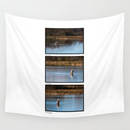 Gone Fishing Triptych White Wall Tapestry