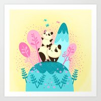 pandas Art Prints featuring pandas by Caramela