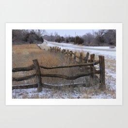 Kansas Wintery Wooden Fence Art Print