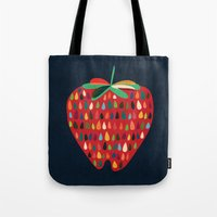 strawberry Tote Bags featuring Strawberry by Picomodi