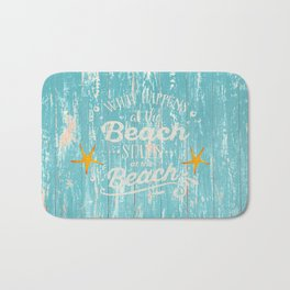 Happy Beach Life- Saying on aqua wood Bath Mat