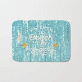 Happy Beach Life- Saying on aqua wood Bath Mat