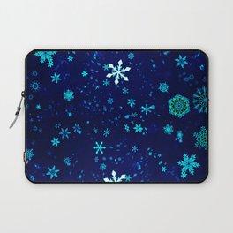 Blue Snowflakes Pattern Laptop Sleeve