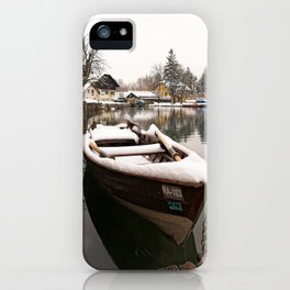 Boats At The Bled Lake iPhone Case