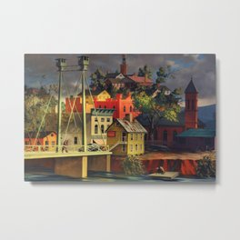 New England Town on the Two Rivers with Bridge landscape painting by Peter Blume Metal Print