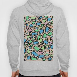 Sea Glass - Blues Aqua Green on Peach Hoody