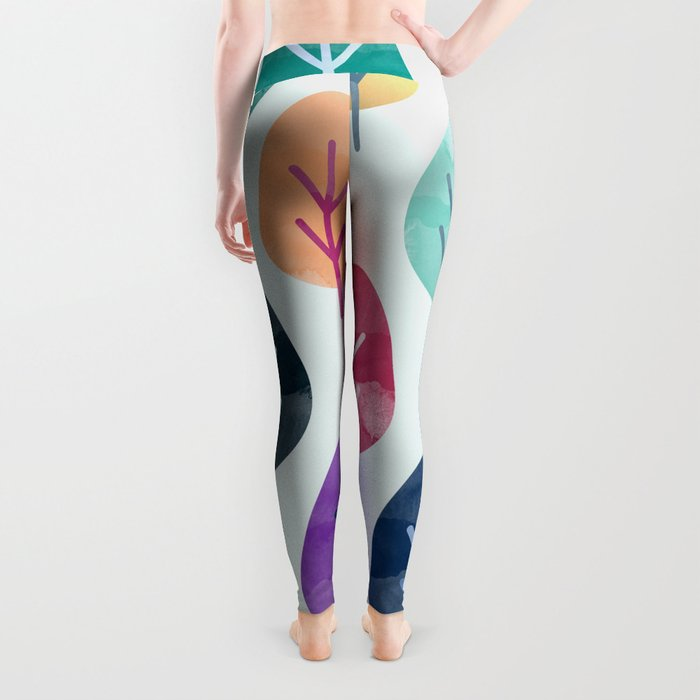 Watercolor Forest Pattern Leggings