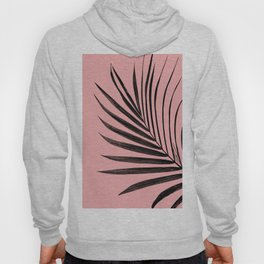 Simple black palm leaves with pink Hoody