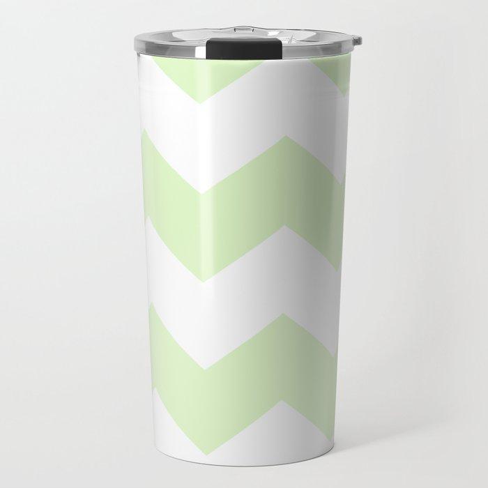 Green and white zig zag simple graphic pattern Travel Mug