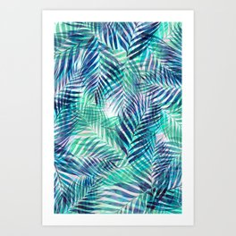 Palm Leaves - Indigo Green Art Print
