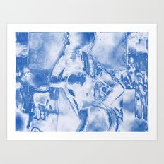 Cyber Dancer Blue and White Art Print