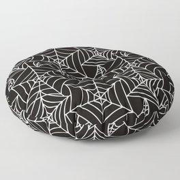 Gothic Halloween - white spider webs on black background Floor Pillow