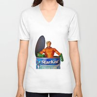 aquaman V-neck T-shirts featuring The Wrong Place At The Wrong Time by Beastie Toyz