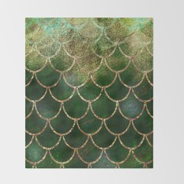 Green & Gold Mermaid Scales Throw Blanket
