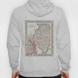Vintage Map of Illinois (1861) Hoody