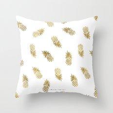 Gold Pineapples Throw Pillow