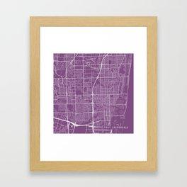 Fort Lauderdale Map, USA - Purple Framed Art Print