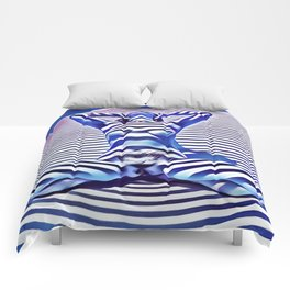9665s-KMA_5201 Powerful Blue Woman Open Free Striped Sensual Sexy Abstract Nude Comforters