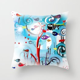 Reef Underwater Fishes Throw Pillow