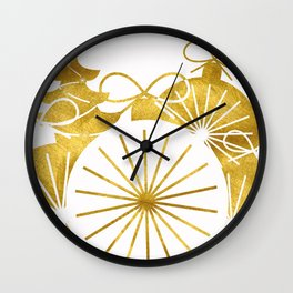 Gold Christmas 01 Wall Clock