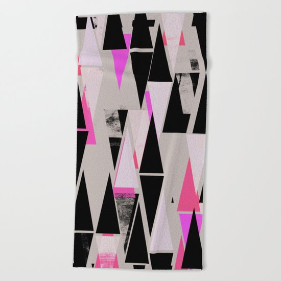 Pink Triangles II Beach Towel