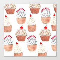 cupcakes Canvas Prints featuring Cupcakes by Bouffants and Broken Hearts