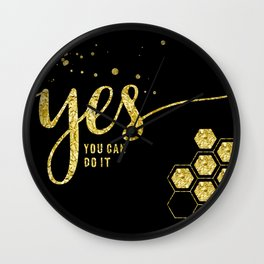 TEXT ART GOLD Yes you can do it Wall Clock