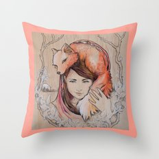 Safe in My Red Riding Hood, Balsa Throw Pillow